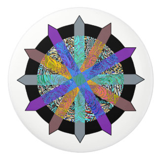 Funky geometric multi-colored modern door knob