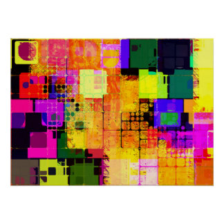 Funky Geometric Multicolored Design Poster