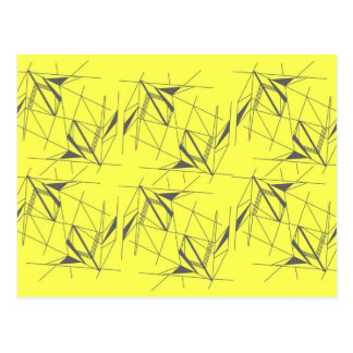 Funky geometric pattern postcard