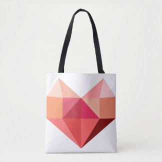 Funky Geometric Pink Peach Shopping Tote