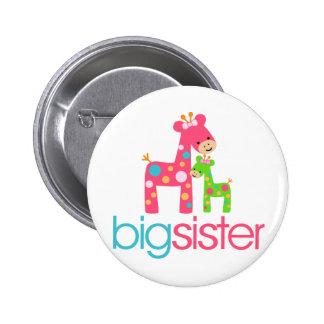 Funky Giraffe Big Sister Tshirt 6 Cm Round Badge