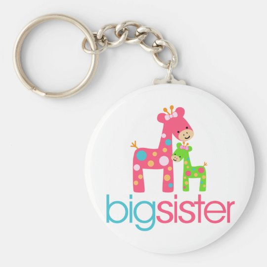 Funky Giraffe Big Sister Tshirt Basic Round Button Key Ring
