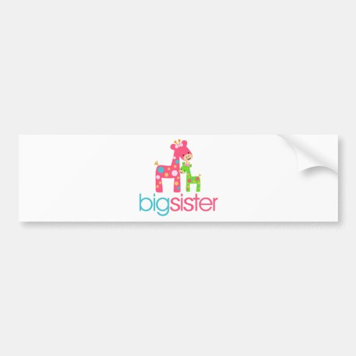 Funky Giraffe Big Sister Tshirt Bumper Sticker