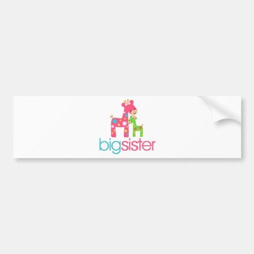 Funky Giraffe Big Sister Tshirt Bumper Stickers