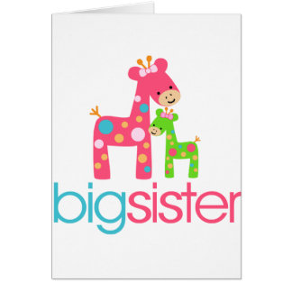 Funky Giraffe Big Sister Tshirt Greeting Card