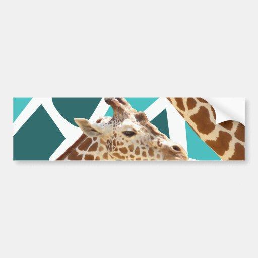 Funky Giraffe Print Teal Blue Wild Animal Pattern Bumper Sticker