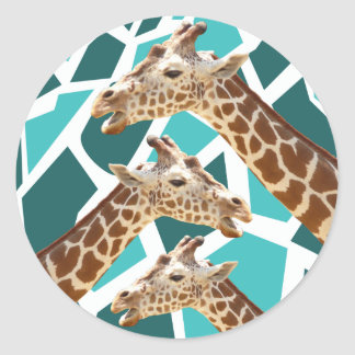 Funky Giraffe Print Teal Blue Wild Animal Pattern Round Stickers