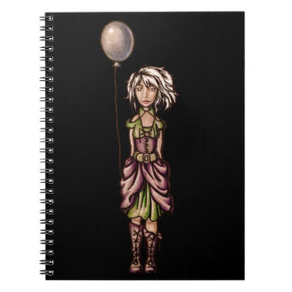 Funky Girl Cartoon Drawing with Balloon Note Book