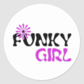 funky girl classic round sticker