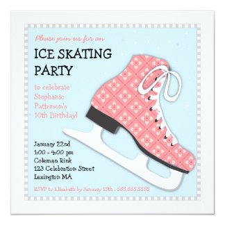 Funky Girl Ice Skating Birthday Party 13 Cm X 13 Cm Square Invitation Card