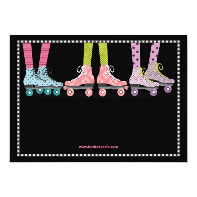 Funky Girls Roller Skating Birthday Party Card Zazzle Com Au