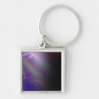funky girly halftone textured Silver-Colored square key ring