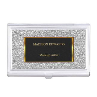 Funky Gold golden and silver Glitter  professional Business Card Holder