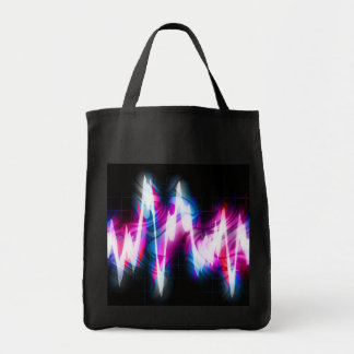 Funky Graphic EQ Audio Waveform Grocery Tote Bag