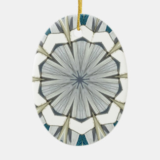 Funky Gray Blue Mandala Pattern Ceramic Ornament