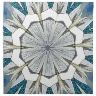 Funky Gray Blue Mandala Pattern Napkin