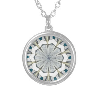 Funky Gray Blue Mandala Pattern Silver Plated Necklace