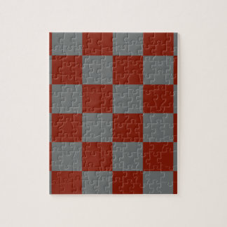 Funky Gray Burgundy Blocks Jigsaw Puzzle