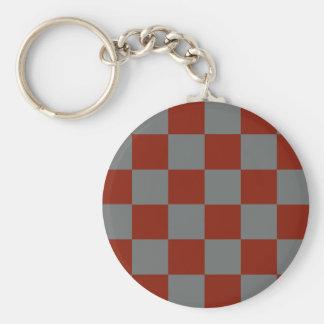 Funky Gray Burgundy Blocks Key Ring
