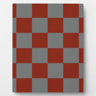 Funky Gray Burgundy Blocks Plaque
