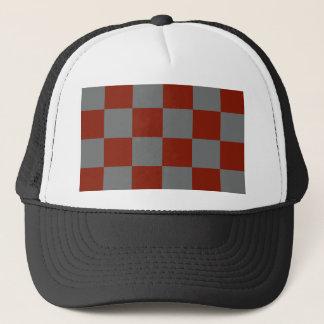 Funky Gray Burgundy Blocks Trucker Hat