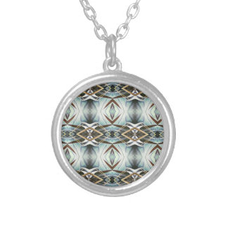 Funky Gray Pattern Silver Plated Necklace