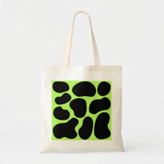 Funky Green and Black Cow Pattern Canvas Bag