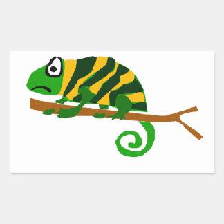 Funky Green and Yellow Chameleon Lizard Art Rectangular Sticker