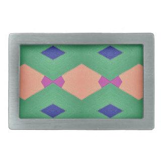 Funky Green Blue Peach Seamless Pattern Rectangular Belt Buckle