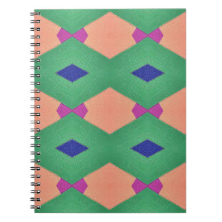 Funky Green Blue Peach Seamless Pattern Spiral Note Book