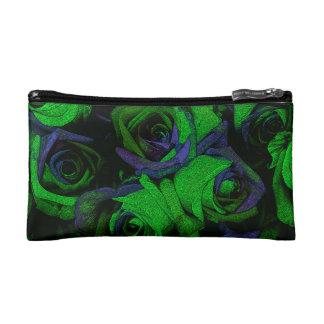 Funky Green & Blue Roses Cosmetic Bag