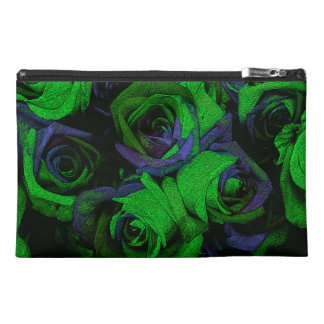 Funky Green & Blue Roses Travel Accessory Bag