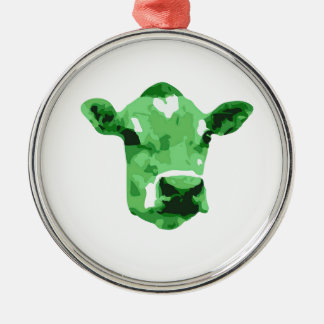 Funky green cow metal ornament