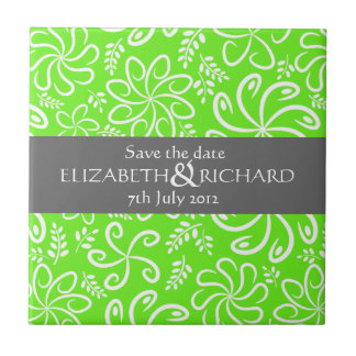 Funky green flowers and leaves Save the date Tile