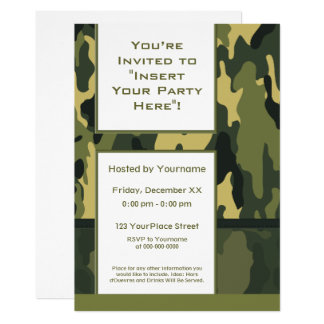 Funky Green Military Camouflage Card