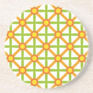 Funky Green & Orange Pattern Coaster