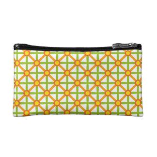 Funky Green & Orange Pattern Cosmetic Bag