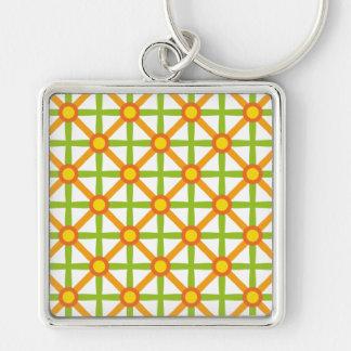 Funky Green & Orange Pattern Key Ring