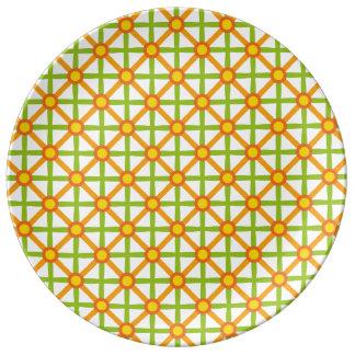 Funky Green & Orange Pattern Plate