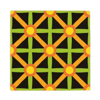 Funky Green & Orange Pattern Wood Coaster