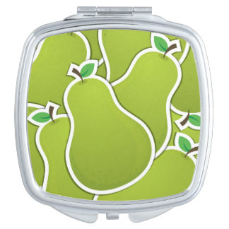 Funky green pears mirrors for makeup