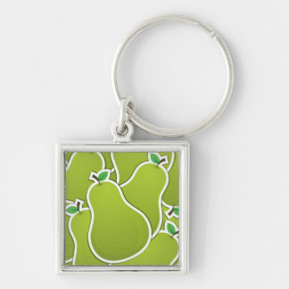 Funky green pears Silver-Colored square key ring