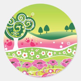 Funky Green Pink Landscape stickers