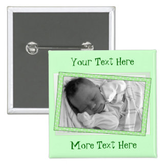 Funky Green Polkadot Frame Button