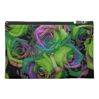Funky Green & Purple Roses Accessory Bag