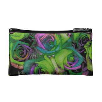 Funky Green & Purple Roses Cosmetic Bag