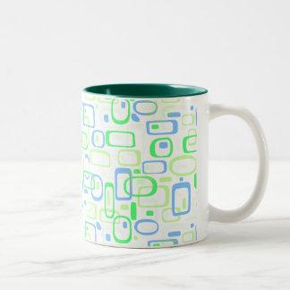 Funky Green Retro Pattern Two-Tone Coffee Mug