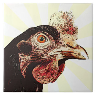 Funky Grumpy Chicken Superstar Large Square Tile