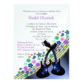 Funky Guitar Music Bat Mitzvah Personalized Announcements