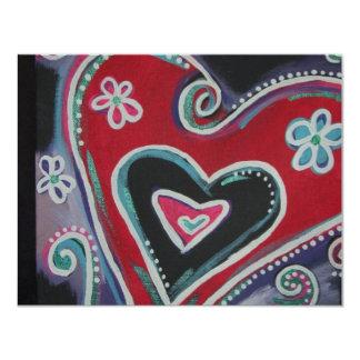 Funky Heart 11 Cm X 14 Cm Invitation Card